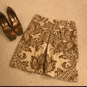 DKNY Paisely bronze gold tan cream A Midi skirt